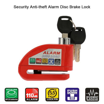 Harga Motors Alarm Systems Accessories Motorcycle Scooter Bicycle DiscBrake Lock Security Anti-Theft Alarm Lock