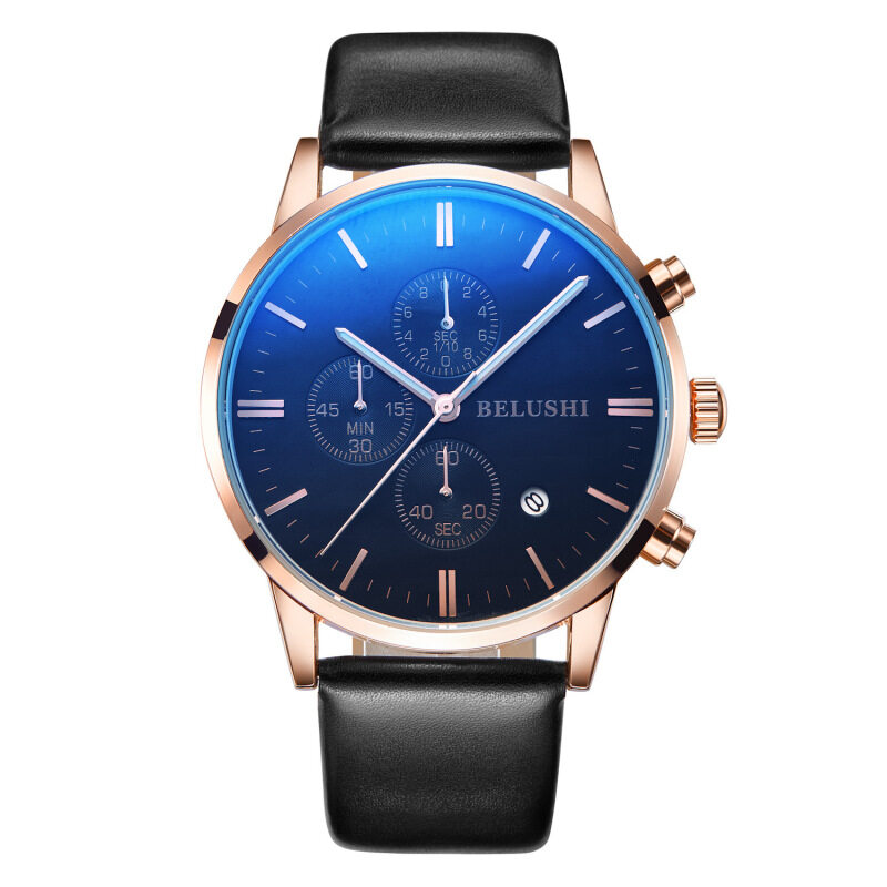 Multi function waterproof explosion man watch, true belt, three eyes, quick sell, through explosion, micro dealer, quartz watch wholesale Malaysia