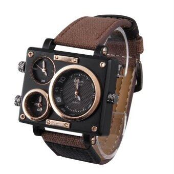 Harga Multiple Time Zones Men's Watch Canvas Strap Square Watch For OULM Cool Style SPK-3595 Brown