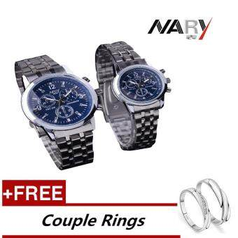 NARY 6033 Dial Classic Couple Lover Women Men Quartz Full StainlessSteel Wrist Watch Blue +Free Adjustable Lovers Rings (Buy 1 Get 1Free)