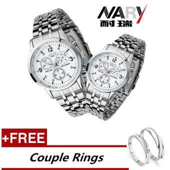 NARY 6033 Dial Classic Couple Lover Women Men Quartz Full StainlessSteel Wrist Watch white +Free Adjustable Lovers Rings (Buy 1 Get 1Free)