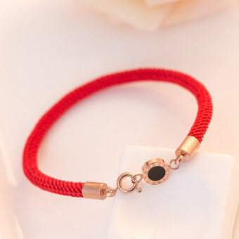 Natal lucky red string bracelet transit circle letter titanium steel rose gold hand ring female korean jewelry