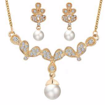 Harga Natural Pearls Jewellery Set 18K Golden Butterflies Wings ShapedFashion Jewelry Set Necklace Earrings For Beauty