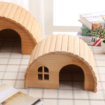 Natural Wood Small Animal pet Hamster house Bed Summer guinea pighedgehog chinchilla House cage Nest Hamster chew toy accessory