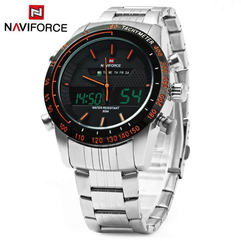 NAVIFORCE NF9024 Dual Movt Men Quartz Watch Analog Digital LED Wristwatch Calendar Watches Stainless Steel Strap Malaysia