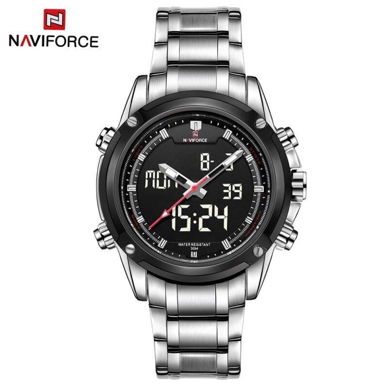 NAVIFORCE NF9050 Dual Movt Men Quarz Watch Analog Digital LED SILVER SILVER Malaysia