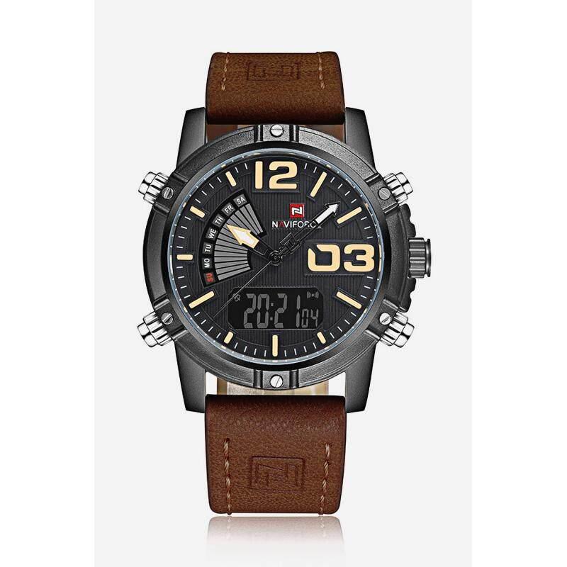 NAVIFORCE NF9095M Men Dual Movt Watch Luminous Calendar LED Light 3ATM Wristwatch Malaysia