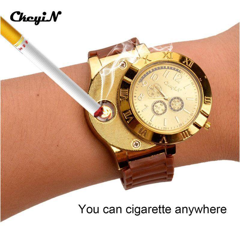 New 2017 Cool Military Electronic Lighter Usb Quartz Watch Man Quartz Sports Cigarette Lighter Men Watches P0452 Malaysia