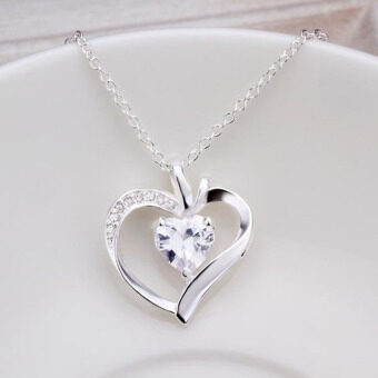 Harga New Fashion Jewelry 925 Sterling Silver Lovely Heart ZirconNecklace For Women Gift