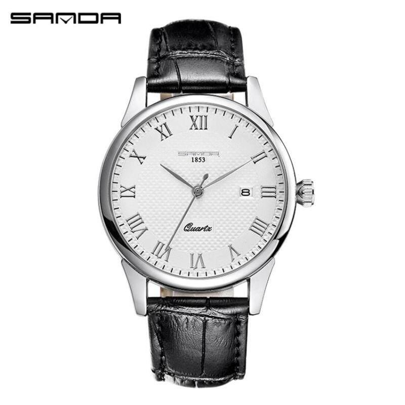 [New] SANDA P189 Fashion Top Grade Couple Classic Casual Leather Strap Quartz Watch (Men Watch) Malaysia