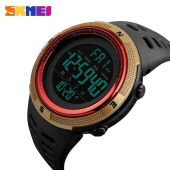 New SKMEI 1251 Men Sports Watches 50M Waterproof Watches Countdown Double Time Watch Alarm Chrono Digital Wristwatches - Black Gold Red