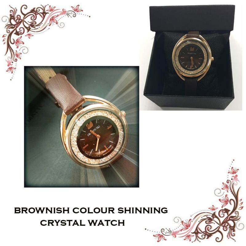 NEW SWAROVSKI LEATHER HIGH QUALITY BROWN TONE WATCH FOR WOMEN Malaysia