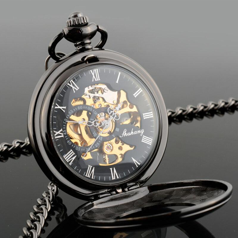 New Vintage Retro Mens Hollow Skeleton Mechanical Quartz Pocket Watch Gift Malaysia