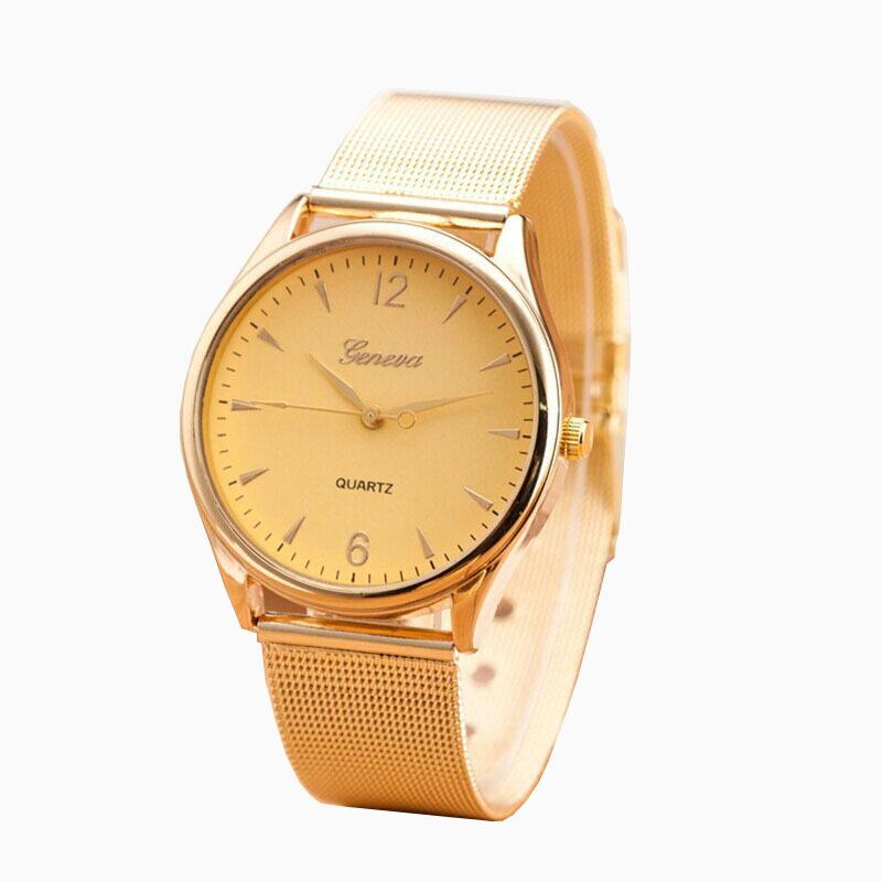 New Womens Classic Gold Geneva Quartz Stainless Steel Wrist Watch Gold Malaysia
