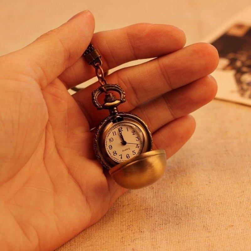 nonof Necklace Pocket Watch Unisex Alloy Pendant Retro AntiqueBronze Quartz Chain Ball Shape Best Gift (bronze) Malaysia