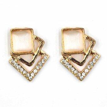 ONLY Square Stylish Diamond Stud Earrings