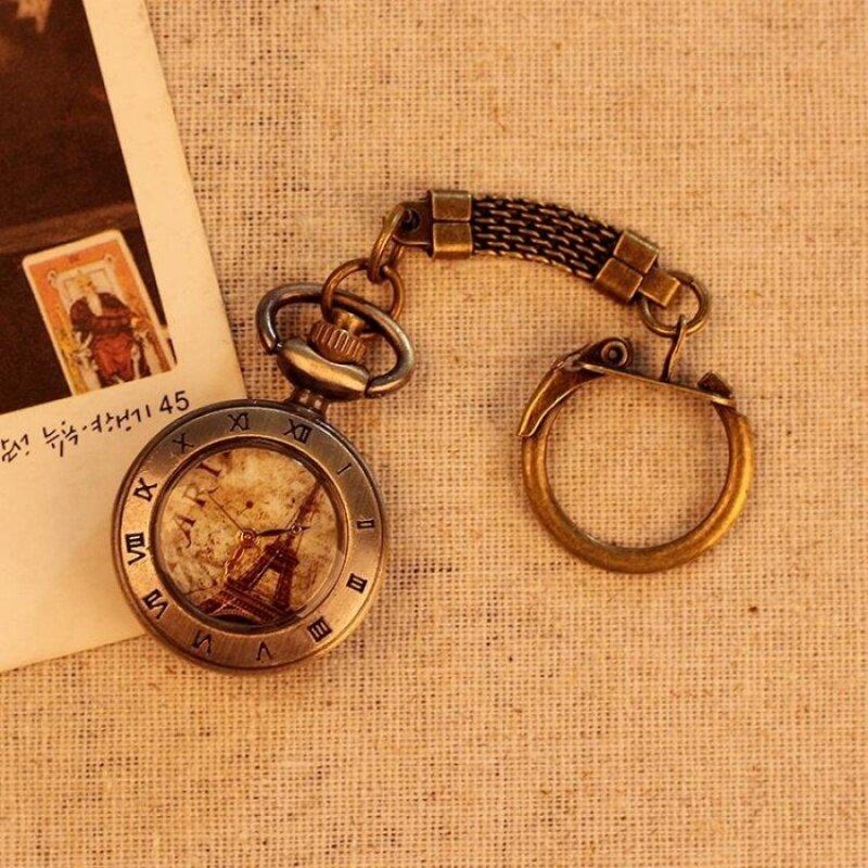 oppoing Eiffel Tower Roman Number Pocket Watch Quartz AntiqueUnisex Alloy Pendant Retro Chain Best Gift (bronze) Malaysia