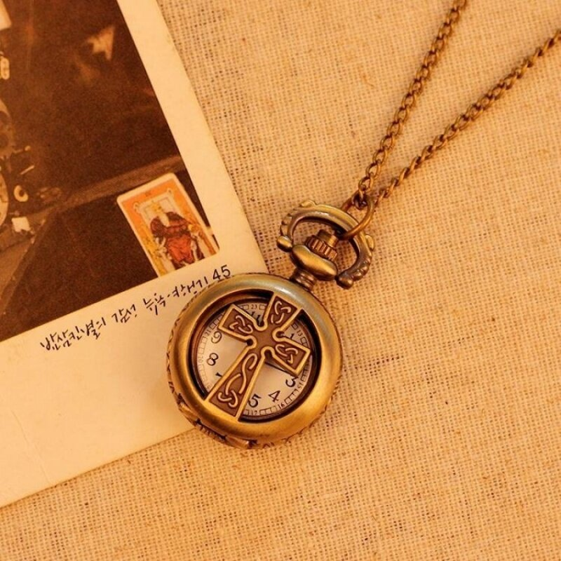 oppoing Pocket Watch For Men Women Unisex Necklace Quartz AlloyPendant Bronze With Long Chain New Arrival (bronze) Malaysia