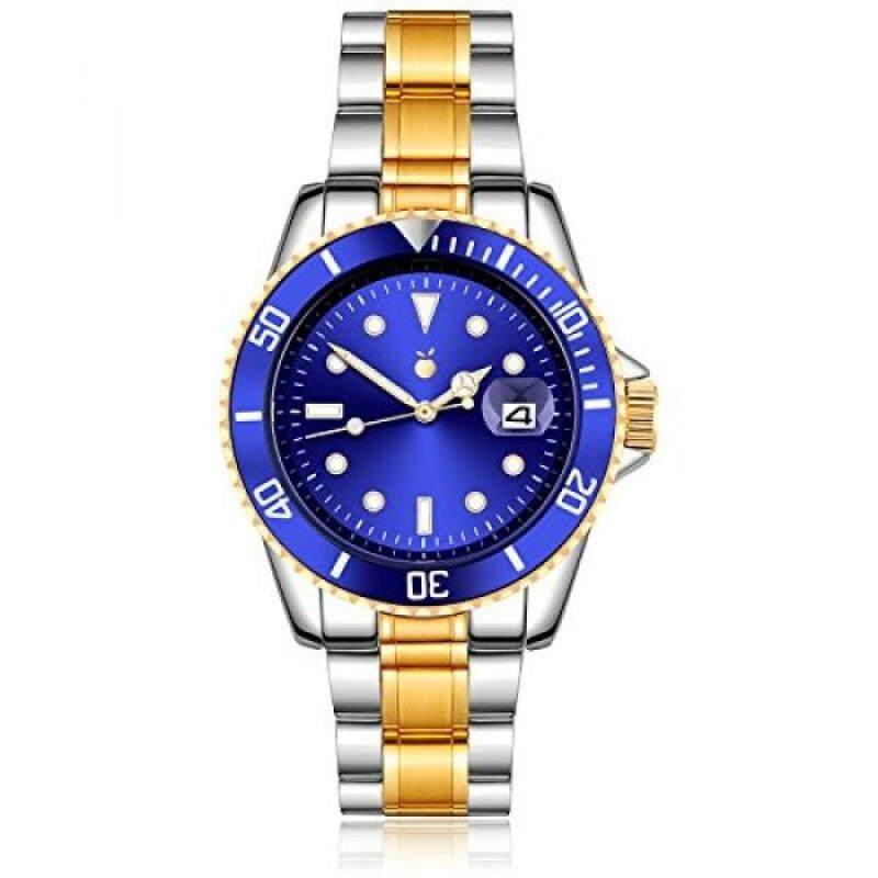 Orange Mens Watch Gold Plated Two Tone Stainless Steel Blue Dial Dive Quartz Analog Watch with Date Malaysia