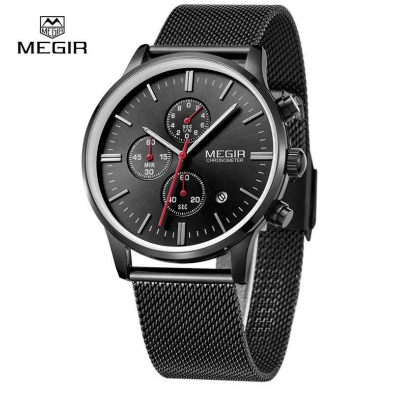 Original MEGIR 2011 Men Quartz Watch 3ATM Waterproof Mutilfunctional Fashion simple Business Wrist watch with Stainless Steel Strap Malaysia