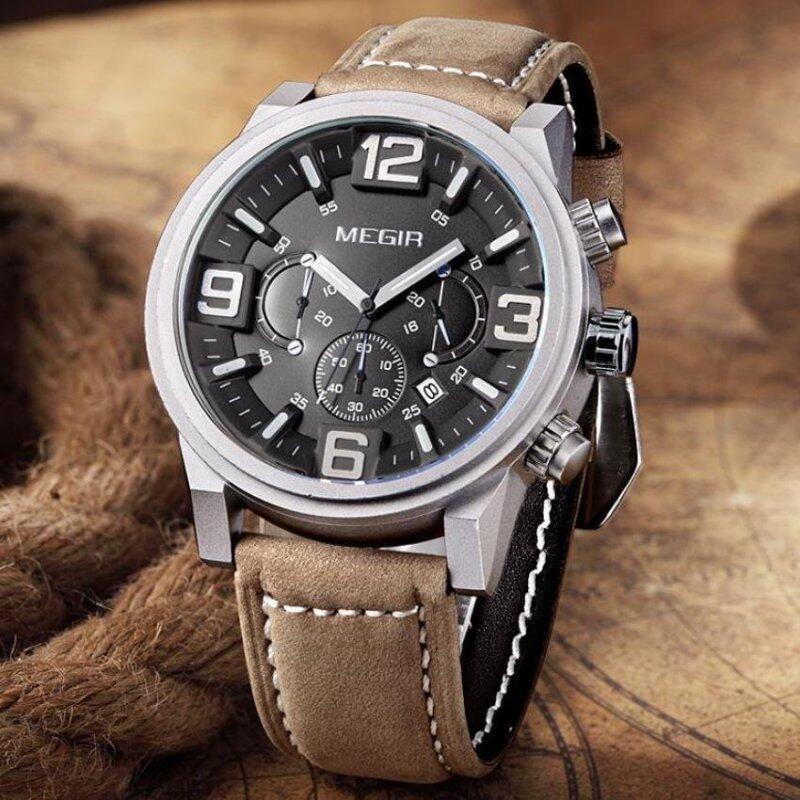Original MEGIR Popular Brand Mens Chronograph Leather Watch Military Male Watch Sports Quartz-Watch Mens Wristwatch Megir 3010 Malaysia