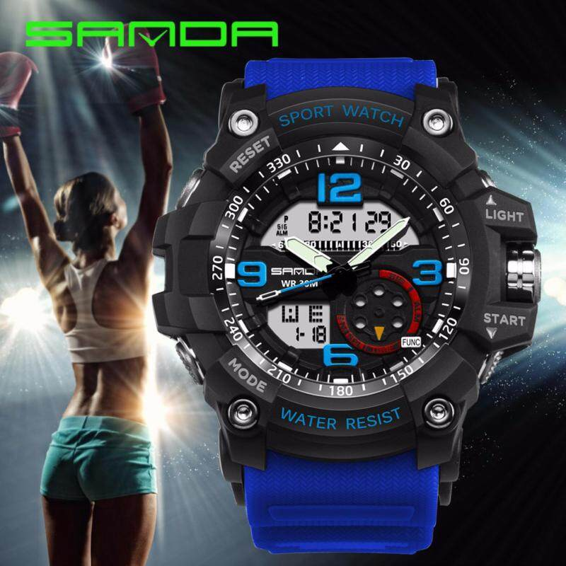 Original SANDA 759 G Style Military Waterproof Outdoor Sports Mens Shockproof Digital Watch (Black Blue) Malaysia