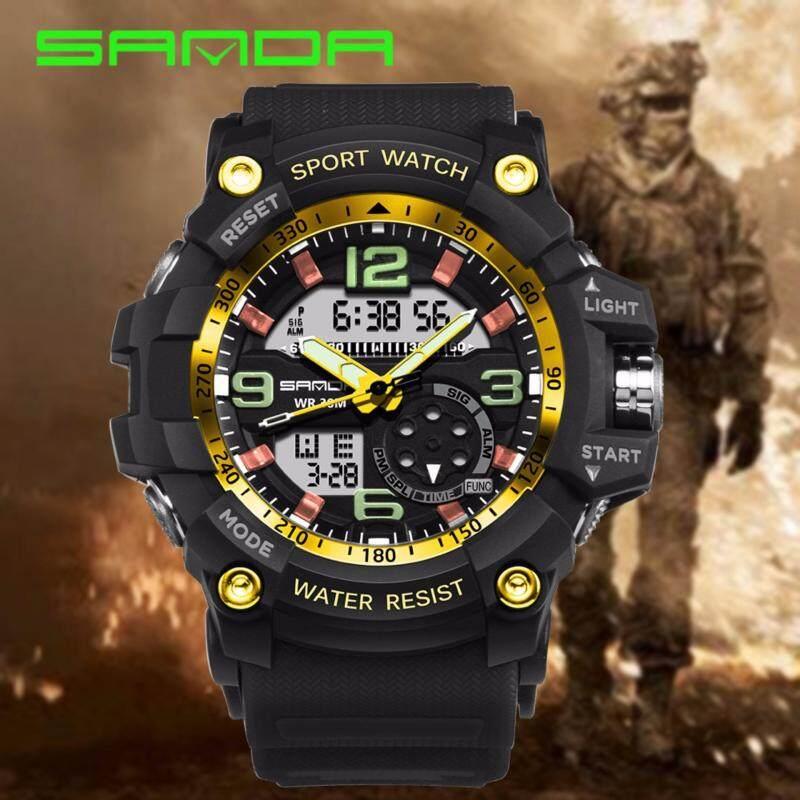 Original SANDA 759 G Style Military Waterproof Outdoor Sports Mens Shockproof Digital Watch (Black Gold) Malaysia