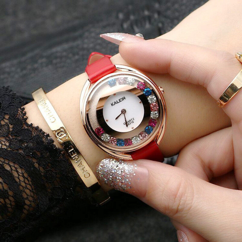 Our simple fashion color diamond watch waterproof leather retro watch small fresh all-match fashion table Malaysia