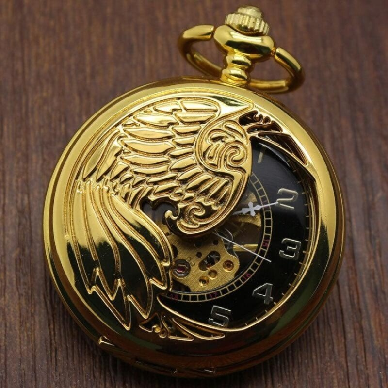 oxoqo Creative mechanical watch animal phoenix pattern providespacket machine carved gold pocket watch (Yellow) Malaysia