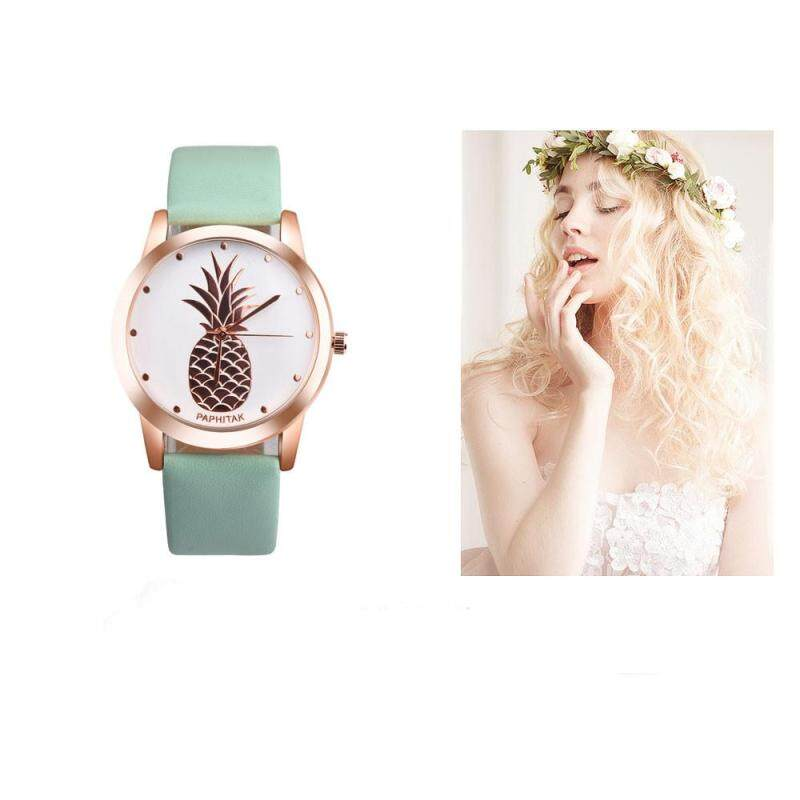 PAPHITAK Womens Men Pineapple Faux Leather Analog Quartz Watch GN Malaysia