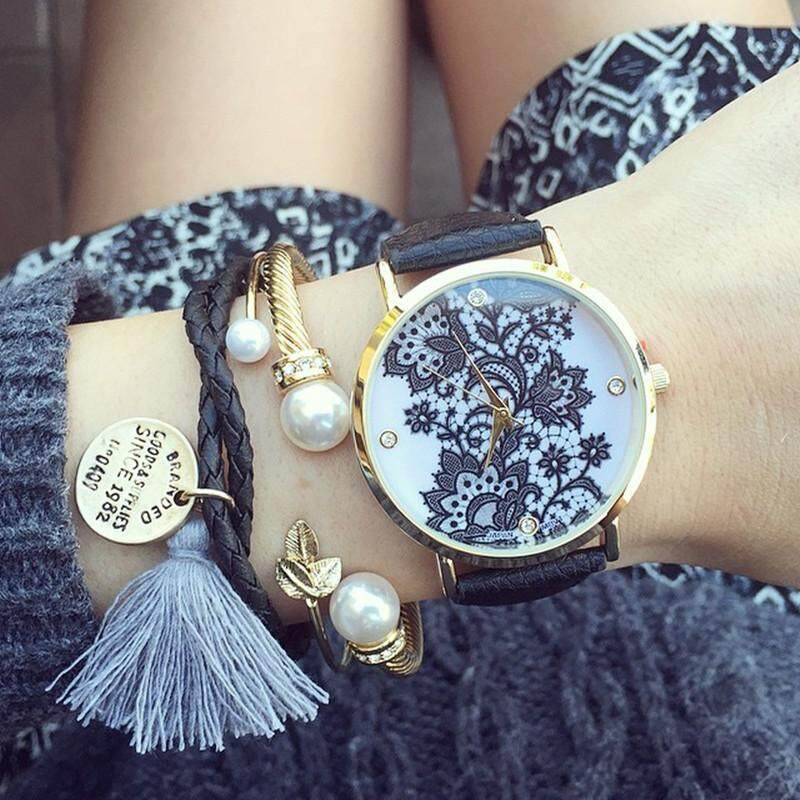 PerfectWorld Lace Print Light Womens Ladies metal Leather Strap Band Watches Black Gift Malaysia