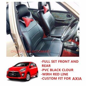 Perodua Axia (Back Seat 4 Pieces) - Custom Fit OEM Car Seat CushionCover PVC Black Colour Shining With Red Line