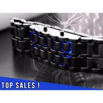 Harga PRADO Lava LED Bracelet Watch Iron Samurai Japan Style - Black & Blue LED