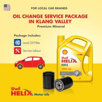 Proton/Perodua Car - Premium Mineral Shell Helix HX5 SN 10W-30 (3L) Engine Oil Change Service Package (Klang Valley)