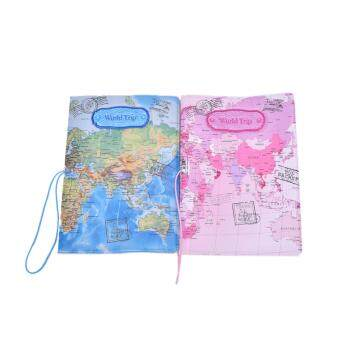PU Leather World Map Passport Holder Organizer Travel Card CaseDocument Cover Pink - 2
