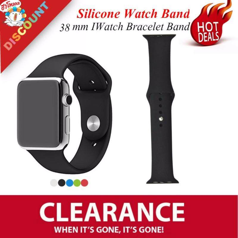 Ready Stock 1:1 Silicone Band with Connector Adapter for Apple Watch Sport 38mm Strap for IWatch Sports Buckle Bracelet Band(Black) Malaysia
