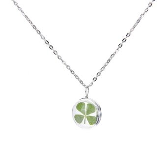 Harga Real Green Lucky Shamrock Four Leaf Clover Round Pendant NecklaceFriends Gift Silver