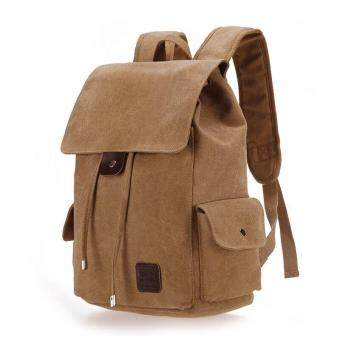 Retro Designer Drawstring Canvas Backpack Rucksack School BagTravel Bag (Khaki)
