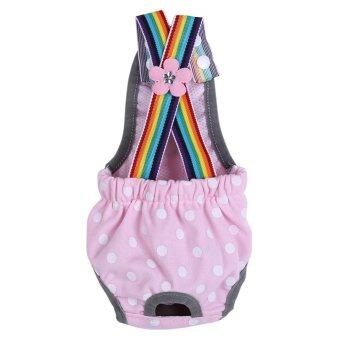 Harga Reusable Washable Female Dog Diaper Menstrual Suspender CottonPants(Dot Pink XL)