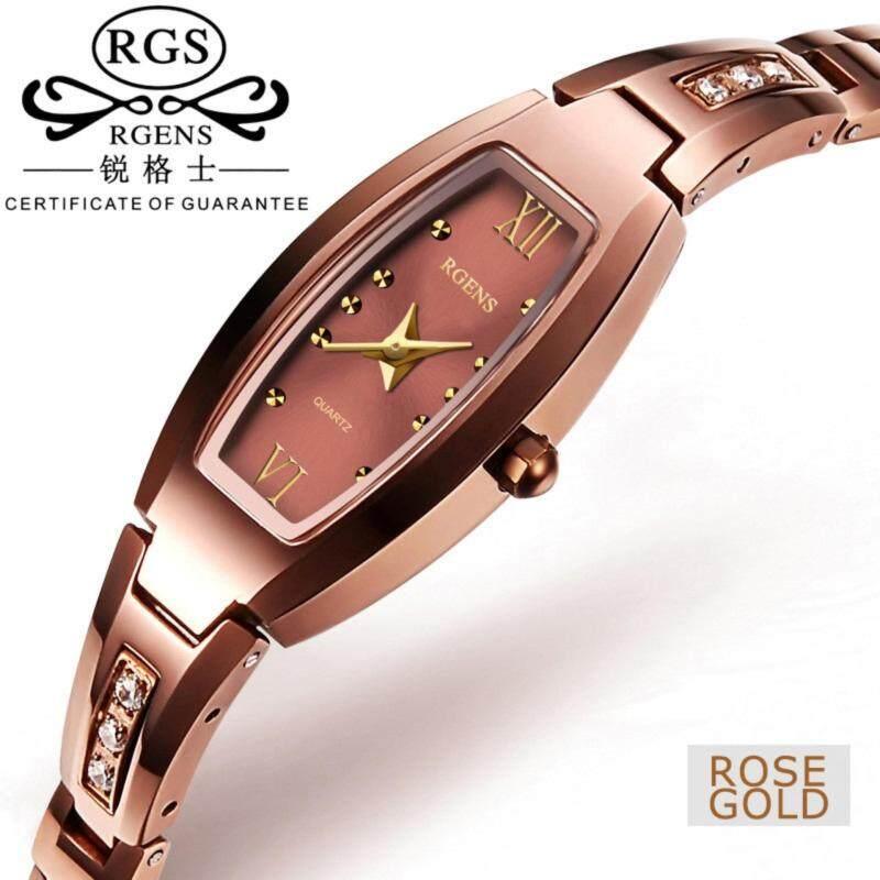 RGENS 9030L Ladies  Rose Gold Diamond Bracelet Watch tungsten steel Anlog Watch Fashion QUARTZ Womens Watch Malaysia