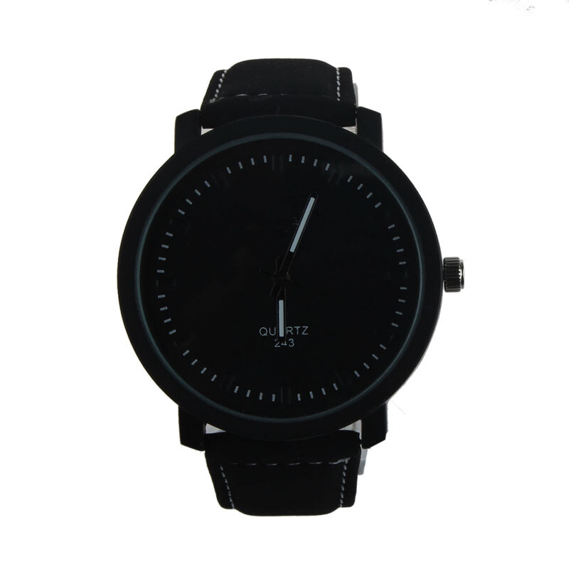 ROSIVGA Lover Men Woman Stainless Steel Leather Band Quartz Wrist Watch (Black+Black) Malaysia