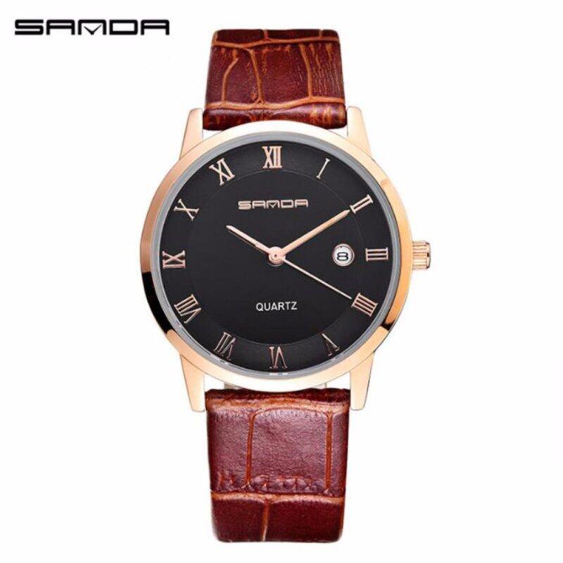 SANDA P188G Genuine Leather Brown Band Date Display Quartz Watch for Men (Black Gold) Malaysia