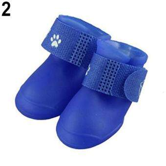 Sanwood(R) 4Pcs/Set Waterproof Anti-Slip Protective Rain Boots Shoes for Cat Dog Puppy Pet S (Blue)