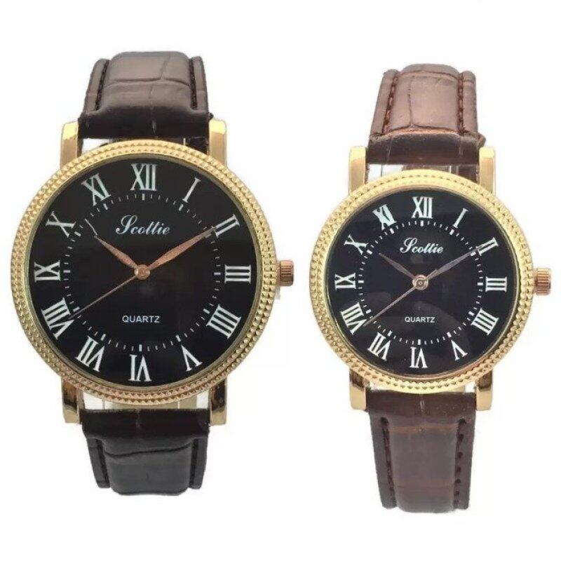 Scottie Vintage Korean Fashion Couple Roman Numeral Leather Quartz Wrist Watch Black Malaysia