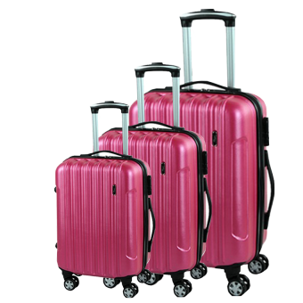 Set Of 3 Hard Shell Luggage Bags - Rose Pink