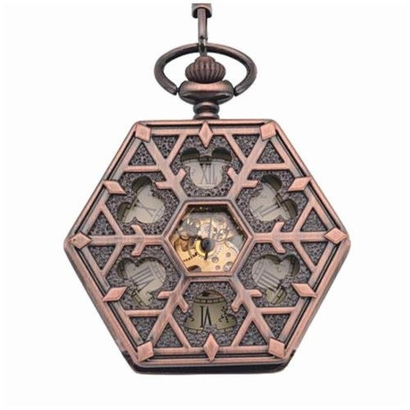 shangqing Antique red bronze Hexagonal automatic pendant fob watchretro pocket watch keychain vintage mechanical pocket watch withChain (Yellow) Malaysia