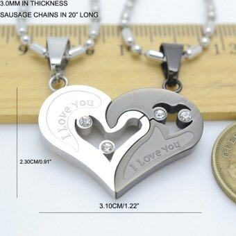 Silver Tone Black Men Women His Her Couples Heart Charm PendantNecklace W/ Sausage Chain 50cm - 2