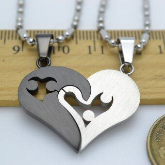 Silver Tone Black Men Women His Her Couples Heart Charm PendantNecklace W/ Sausage Chain 50cm - 3