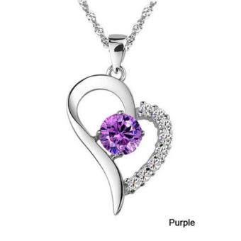 Harga Simple Fashion Only Your Heart Full Diamond Pendant & ChainNecklace Jewelry