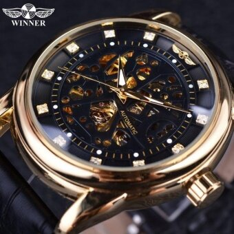 Harga Skeleton Tourbillon Mechanical Watch Automatic Men Classic RoseGold Leather Mechanical Wrist Watches Reloj Hombre